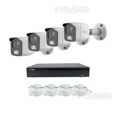 4K 8 megapikselių raiškos IP kamerų komplektas Longse - 1- 4 kameros BMSAML800/A, POE 12