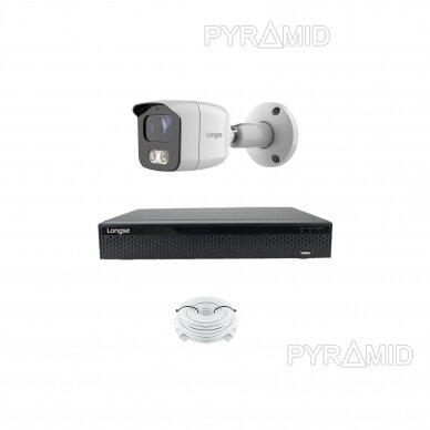 4K 8 megapikselių raiškos IP kamerų komplektas Longse - 1- 4 kameros BMSAML800/A, POE 6