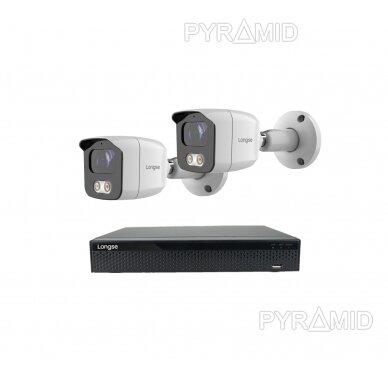 4K 8 megapikselių raiškos IP kamerų komplektas Longse - 1- 4 kameros BMSAML800/A, POE 7