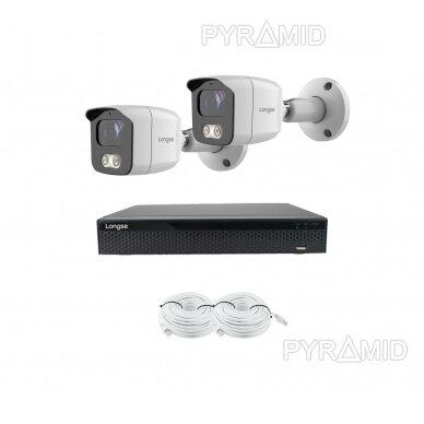 4K 8 megapikselių raiškos IP kamerų komplektas Longse - 1- 4 kameros BMSAML800/A, POE 8