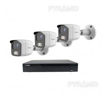 4K 8 megapikselių raiškos IP kamerų komplektas Longse - 1- 4 kameros BMSAML800/A, POE 9