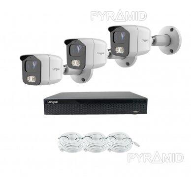 4K 8 megapikselių raiškos IP kamerų komplektas Longse - 1- 4 kameros BMSAML800/A, POE 10