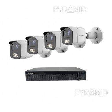 4K 8 megapikselių raiškos IP kamerų komplektas Longse - 1- 4 kameros BMSAML800/A, POE 11