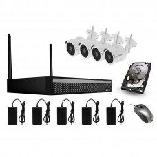 4 WIFI IP kamerų HD vaizdo stebėjimo komplektas Longse WIFI3604D4SV500, 5Mp, 2,8mm + 1TB diskas dovanų
