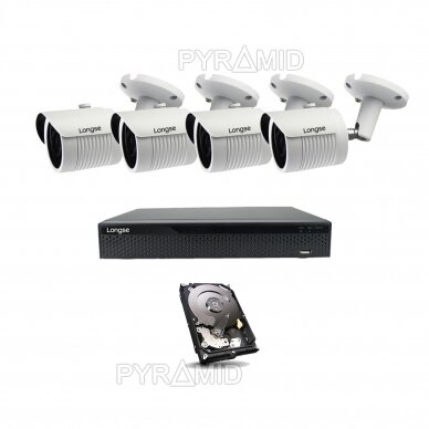 2 megapikselių raiškos IP kamerų komplektas Longse - 2- 4 kameros LBH30HSF200 26