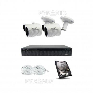 2 megapikselių raiškos IP kamerų komplektas Longse - 2- 4 kameros LBH30HSF200 3