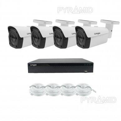 Комплект 8Mп 4K IP видеонаблюдения Longse - 1- 4 камеры LBF30ML800, с POE 11