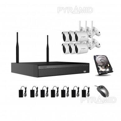 WIFI 2MP IP kamerų vaizdo stebėjimo komplektas Longse 1-8 kameros 16