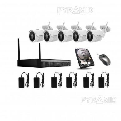 WIFI 2MP IP kamerų vaizdo stebėjimo komplektas Longse 1-8 kameros 12