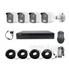 4 AHD kamerų komplektas Longse XVRT3004HD4MB500LW, 5Mp, 2,8mm, baltos šviesos LED