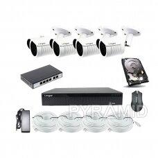 4 IP kamerų LBH30S400P 4 megapikselių vaizdo stebėjimo komplektas Longse su POE