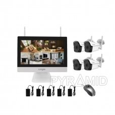 """4 WIFI IP kamerų vaizdo stebėjimo komplektas su 12"""" ekranu Longse WIFI3604M4FK500, 5Mp, 3,6mm + 1TB diskas dovanų"""