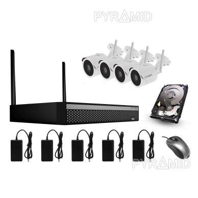 4 WIFI IP kamerų Full HD vaizdo stebėjimo komplektas Longse WIFI3608DE4FE200, 1080p, 3,6mm +1TB diskas DOVANA!