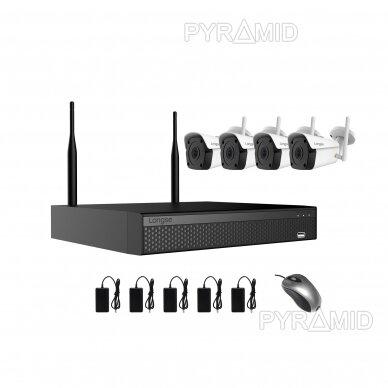 4 WIFI IP kamerų vaizdo stebėjimo komplektas Longse WIFI3604DE4FK500, 5Mp, 3,6mm + 1TB diskas dovanų 2