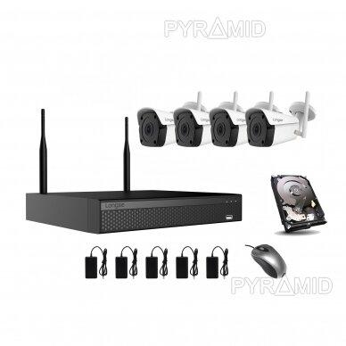 4 WIFI IP kamerų vaizdo stebėjimo komplektas Longse WIFI3604DE4FK500, 5Mp, 3,6mm + 1TB diskas dovanų