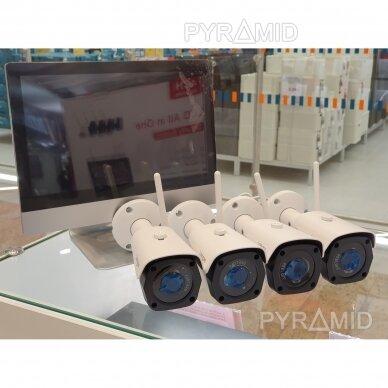 """4 WIFI IP kamerų vaizdo stebėjimo komplektas su 12"""" ekranu Longse WIFI3604M4FK500, 5Mp, 3,6mm + 1TB diskas dovanų 3"""