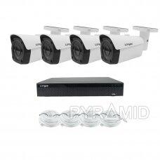 4K 8 megapikselių raiškos IP kamerų komplektas Longse - 1- 4 kameros LBF30ML800