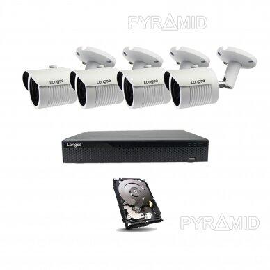 5 megapikselių raiškos IP kamerų komplektas Longse - 2- 4 kameros LBH30SS500 16
