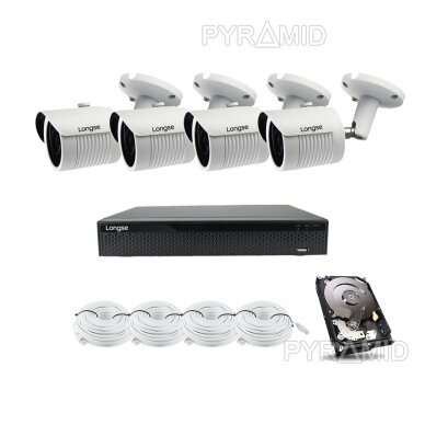 5 megapikselių raiškos IP kamerų komplektas Longse - 2- 4 kameros LBH30SS500 2
