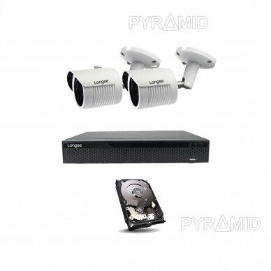 5 megapikselių raiškos IP kamerų komplektas Longse - 2- 4 kameros LBH30SS500 3