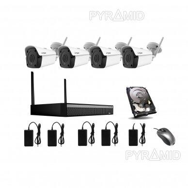 5Mp WIFI kamerų vaizdo stebėjimo komplektas Longse 1-4 kameros, 5Mp, 3,6mm