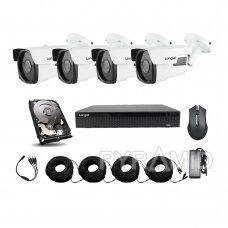 AHD 4 kamerų stebėjimo komplektas Longse su aukštos rezoliucijos 5Mpix kameromis LBP60HTC500FK