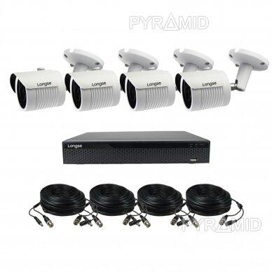 AHD 4 kamerų vaizdo stebėjimo komplektas Longse su 5 Mpix vaizdo stebėjimo kameromis