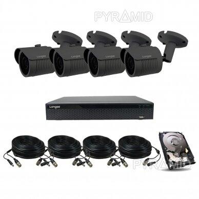 Комплект видеонаблюдения 4-х 5Mп HD камер Longse LBH30HTC500FK/DG
