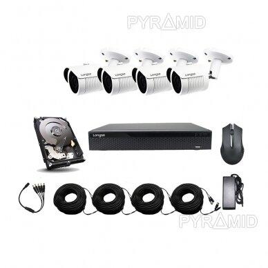 AHD 4 kamerų stebėjimo komplektas Longse su aukštos rezoliucijos 5Mpix kameromis LBH30HTC500FK