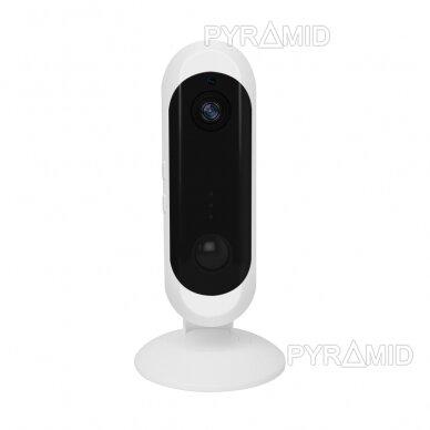 Belaidė IP kamera PYRAMID PYR-DK2M, su akumuliatoriumi, WIFI ir microSD kortelės jungtimi. Skirta patalpoms. Full HD 1080p 5