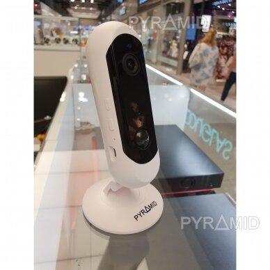 Belaidė IP kamera PYRAMID PYR-DK2M, su akumuliatoriumi, WIFI ir microSD kortelės jungtimi. Skirta patalpoms. Full HD 1080p 3