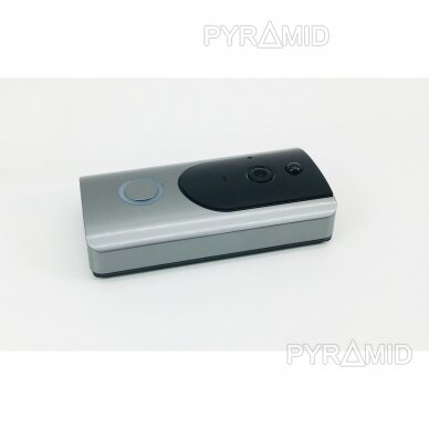 Durų skambutis-domofonas su akumuliatoriumi ir kamera Pyramid PYR-DB1M, WIFI ir microSD kortelės jungtimi. Skambina į programėlę telefone. 2