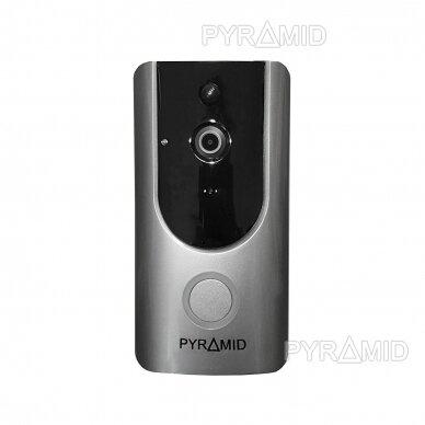 Durų skambutis-domofonas su akumuliatoriumi ir kamera Pyramid PYR-DB1M, WIFI ir microSD kortelės jungtimi. Skambina į programėlę telefone.