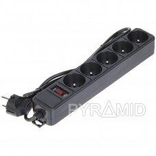 Elektros ilgiklis su viršįtampių apsauga, 230V, 5 lizdai