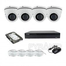 IP 4 kamerų komplektas Longse su aukštos rezoliucijos 4Mpix kameromis su 2,8-12mm reguliuojamais objektyvais