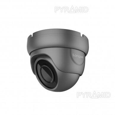 IP stebėjimo kamera Longse LIRDBAFE500/DGA, 2,8mm, 5Mp, 20m IR, POE, su mikrofonu, tamsiai pilka