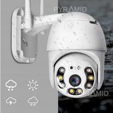 Išmanioji valdoma lauko WIFI kamera su žmonių detekcijos funkcija PYRAMID PYR-SH200DPB, WIFI, microSD jungtis, Full HD 1080p 3