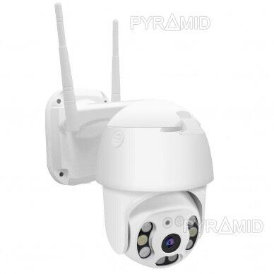 Išmanioji valdoma lauko WIFI kamera su žmonių detekcijos funkcija PYRAMID PYR-SH200DPB, WIFI, microSD jungtis, Full HD 1080p 2