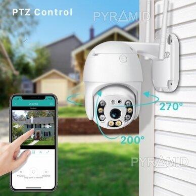 Išmanioji valdoma lauko WIFI kamera su žmonių detekcijos funkcija PYRAMID PYR-SH200DPB, WIFI, microSD jungtis, Full HD 1080p 5