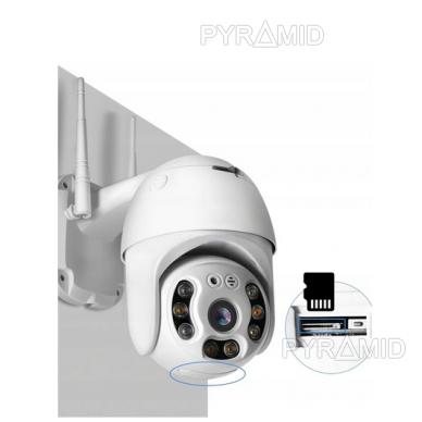 Išmanioji valdoma lauko WIFI kamera su žmonių detekcijos funkcija PYRAMID PYR-SH200DPB, WIFI, microSD jungtis, Full HD 1080p 11