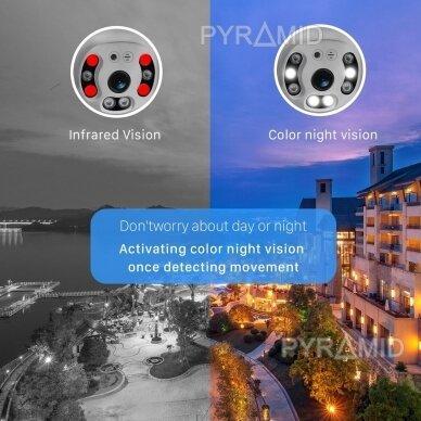 Išmanioji valdoma lauko WIFI kamera su žmonių detekcijos funkcija PYRAMID PYR-SH200DPB, WIFI, microSD jungtis, Full HD 1080p 8