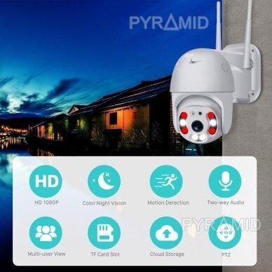 Išmanioji valdoma lauko WIFI kamera su žmonių detekcijos funkcija PYRAMID PYR-SH200DPB, WIFI, microSD jungtis, Full HD 1080p 7