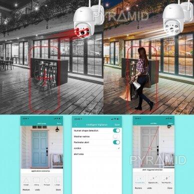 Išmanioji valdoma lauko WIFI kamera su žmonių detekcijos funkcija PYRAMID PYR-SH200DPB, WIFI, microSD jungtis, Full HD 1080p 9