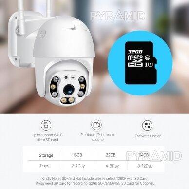 Išmanioji valdoma lauko WIFI kamera su žmonių detekcijos funkcija PYRAMID PYR-SH200DPB, WIFI, microSD jungtis, Full HD 1080p 10