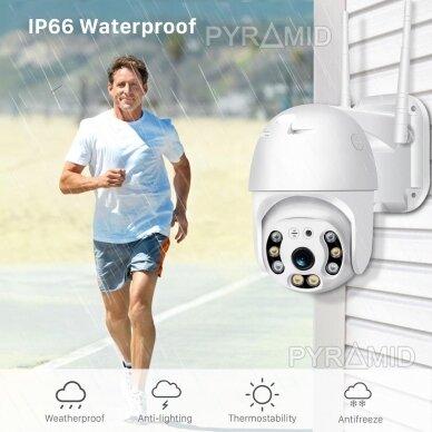 Išmanioji valdoma lauko WIFI kamera su žmonių detekcijos funkcija PYRAMID PYR-SH200DPB, WIFI, microSD jungtis, Full HD 1080p 4