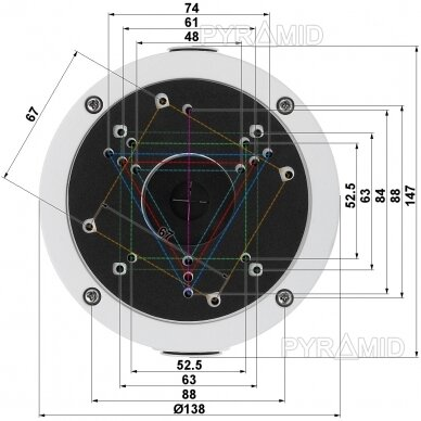 Kameros laidų jungiamoji dėžutė - montavimo bazė B320, metalinė balta 3