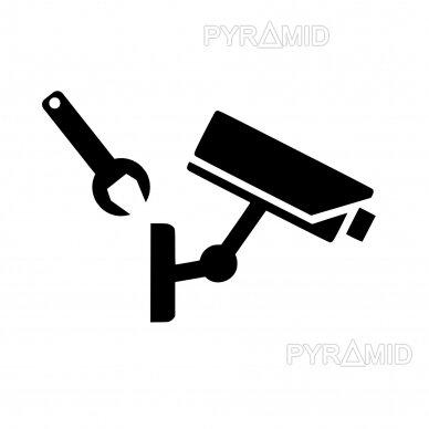 Kameros montavimas, tvirtinant prie sienos ar lubų, laidų prijungimas, reguliavimas