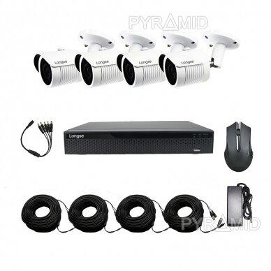 AHD 4 kamerų stebėjimo komplektas Longse su aukštos rezoliucijos 5 Mpix vaizdo stebėjimo kameromis