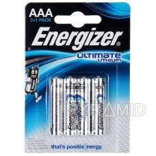 LIČIO BATERIJOS ENERGIZER ULTIMATE LITHIUM BAT-AAA-LITHIUM/E*P4 1.5 V LR03 AAA