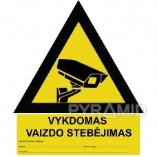 Uzlīmju videonovērošana, dzelteni melna, lietuviešu valodā